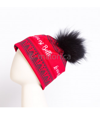 Tuque rouge pompon noir -032
